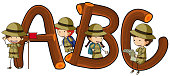 English alphabets and kids in safari outfit