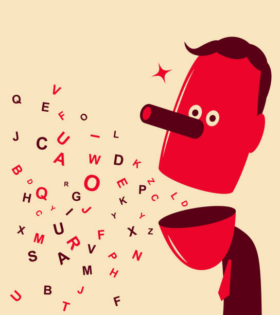 English alphabets flying from man's open mouth Unique Characters Vector art illustration. English alphabets flying from man's open mouth. dishonesty stock illustrations