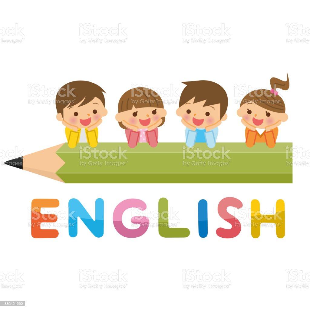 Inglés y los niños. - ilustración de arte vectorial