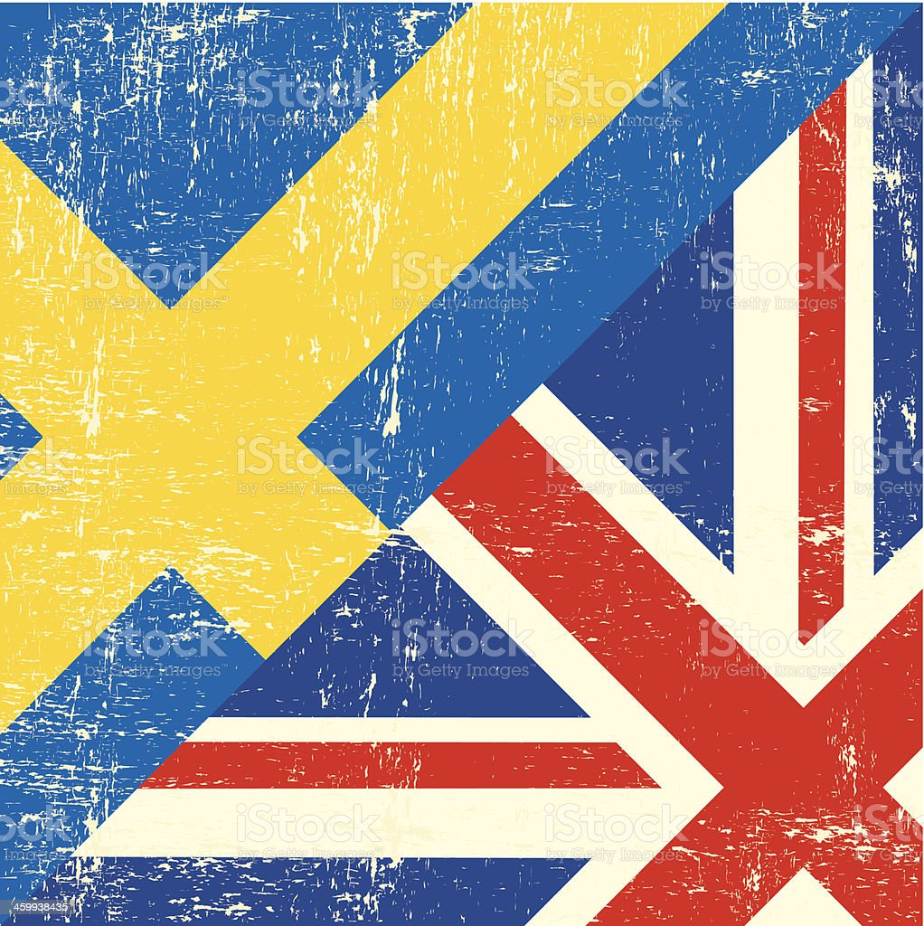 English and sweden grunge Flag royalty-free stock vector art