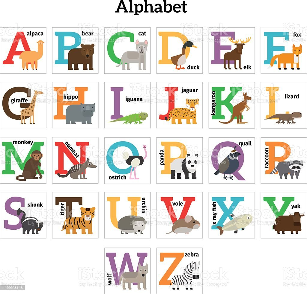 English Tiere zoo alphabet – Vektorgrafik