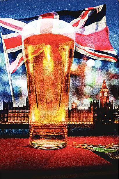 英語のビール - イギリスの国旗点のイラスト素材/クリップアート素材/マンガ素材/アイコン素材