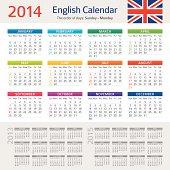Vector illustration of English Сalendar for 2014 year