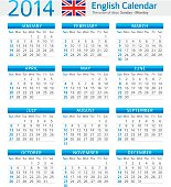 Vector illustration of English Calendar for 2014 year