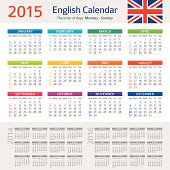 Vector illustration of English Сalendar for 2015 year