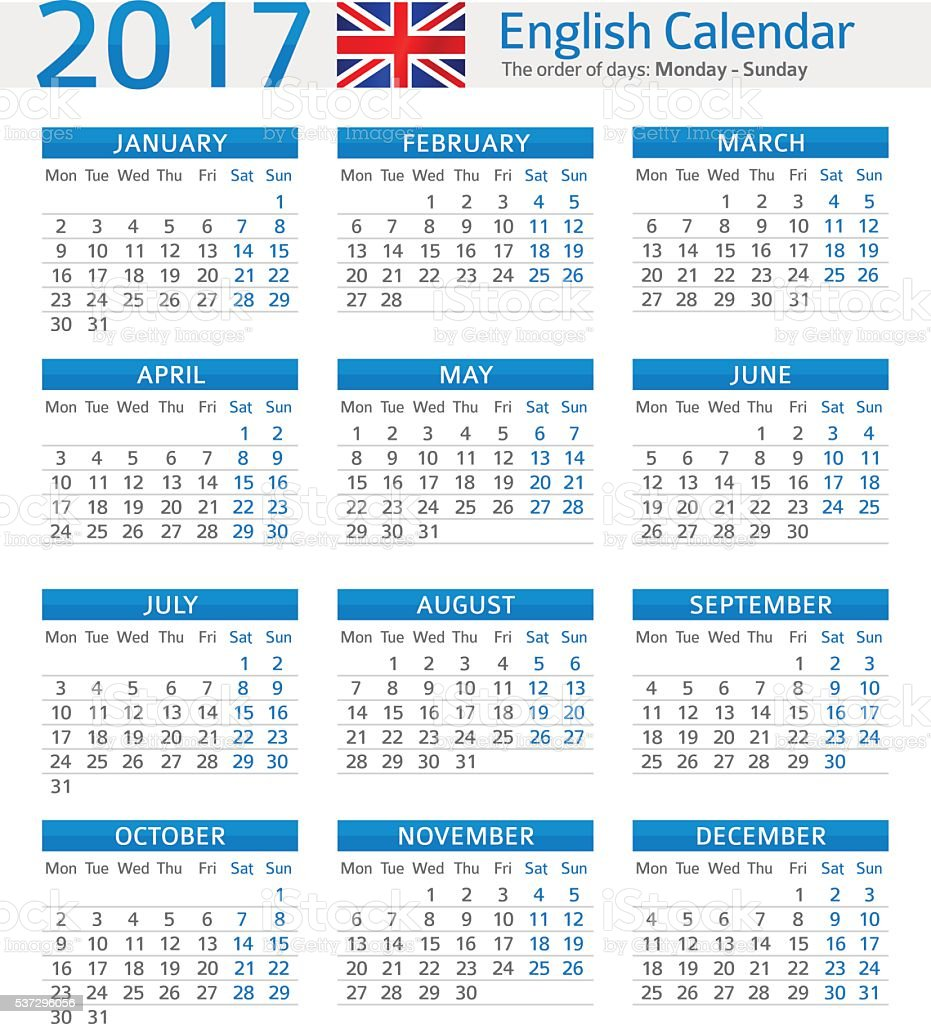 Calendar English : English calendar stock vector art more images of