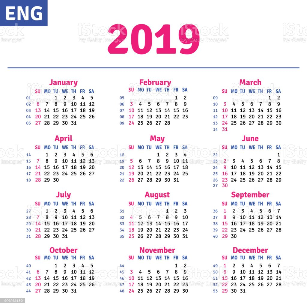 english calendar 2019 stock vector art  u0026 more images of advertisement 926255130
