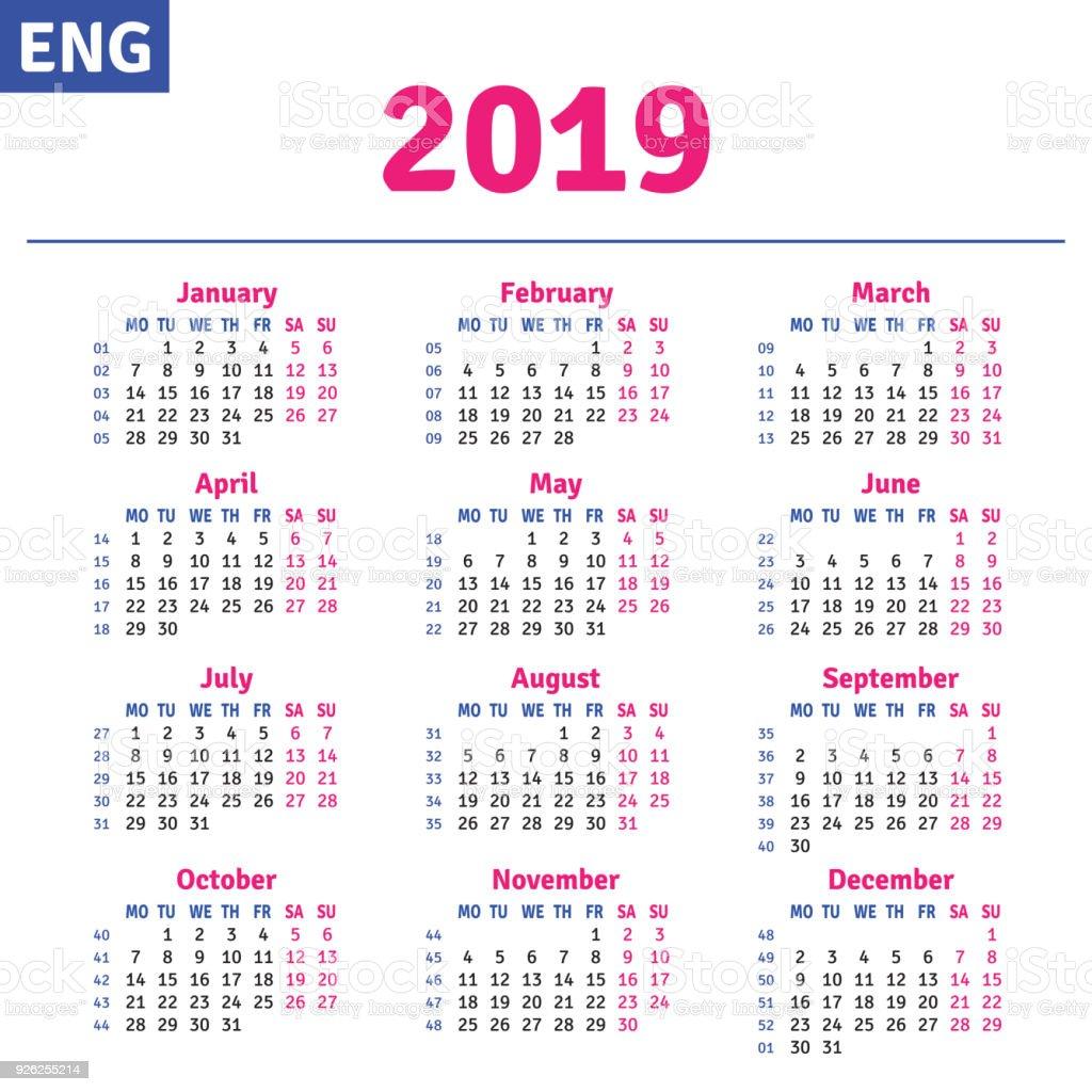 Calendario 2019 English.English Calendar 2019 Stock Illustration Download Image
