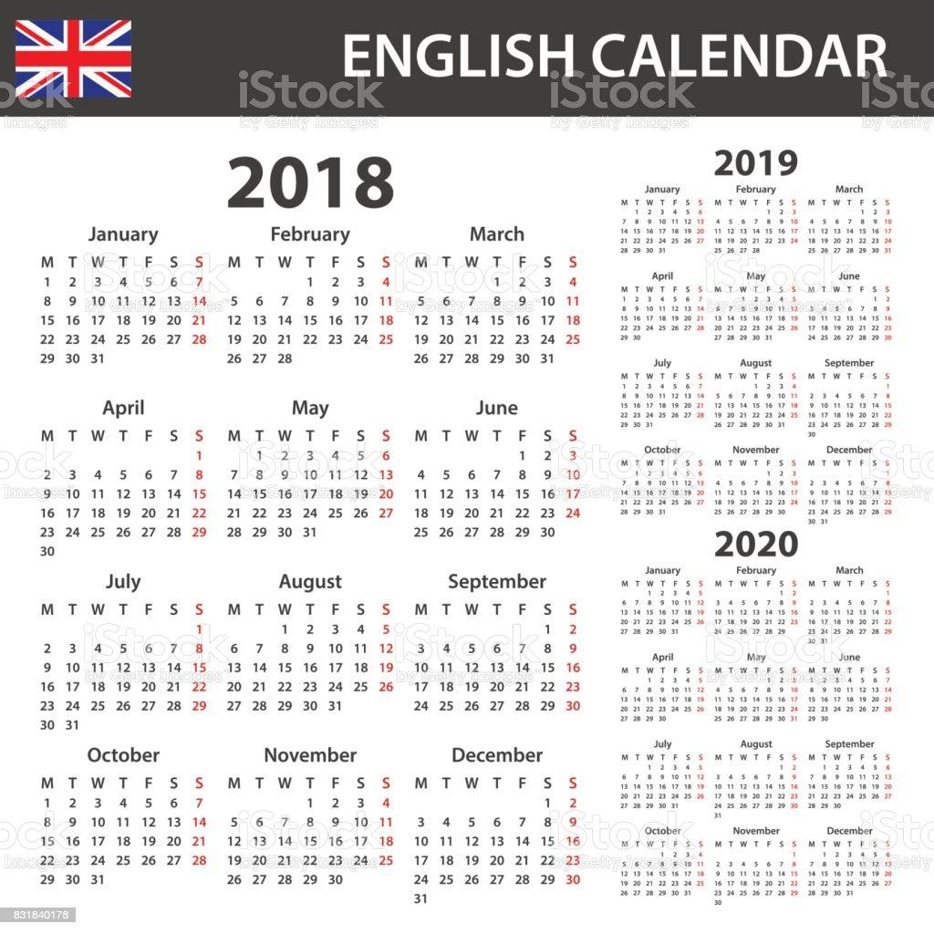 Calendrier Anglais Pour 2018 2019 Et 2020 Modele Planificateur De