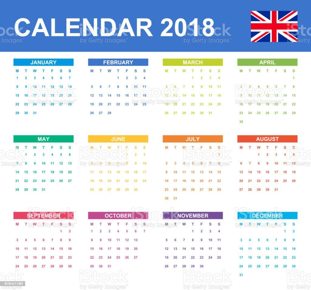 Englischen Kalender Für 2018 Scheduler Agenda Oder Tagebuch Vorlage ...