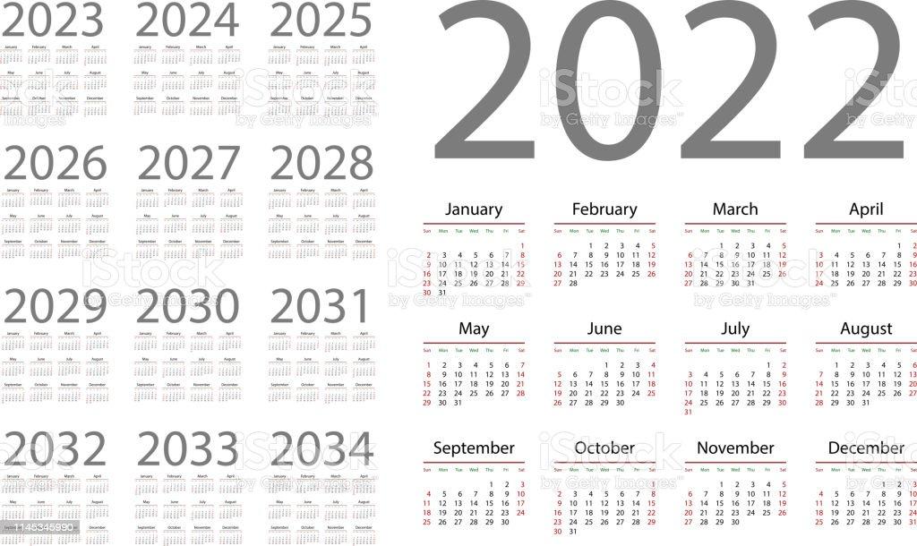 Calendrier 2022 Anglais Calendrier Anglais Pour Les Années 20222034 Semaine Commence Le