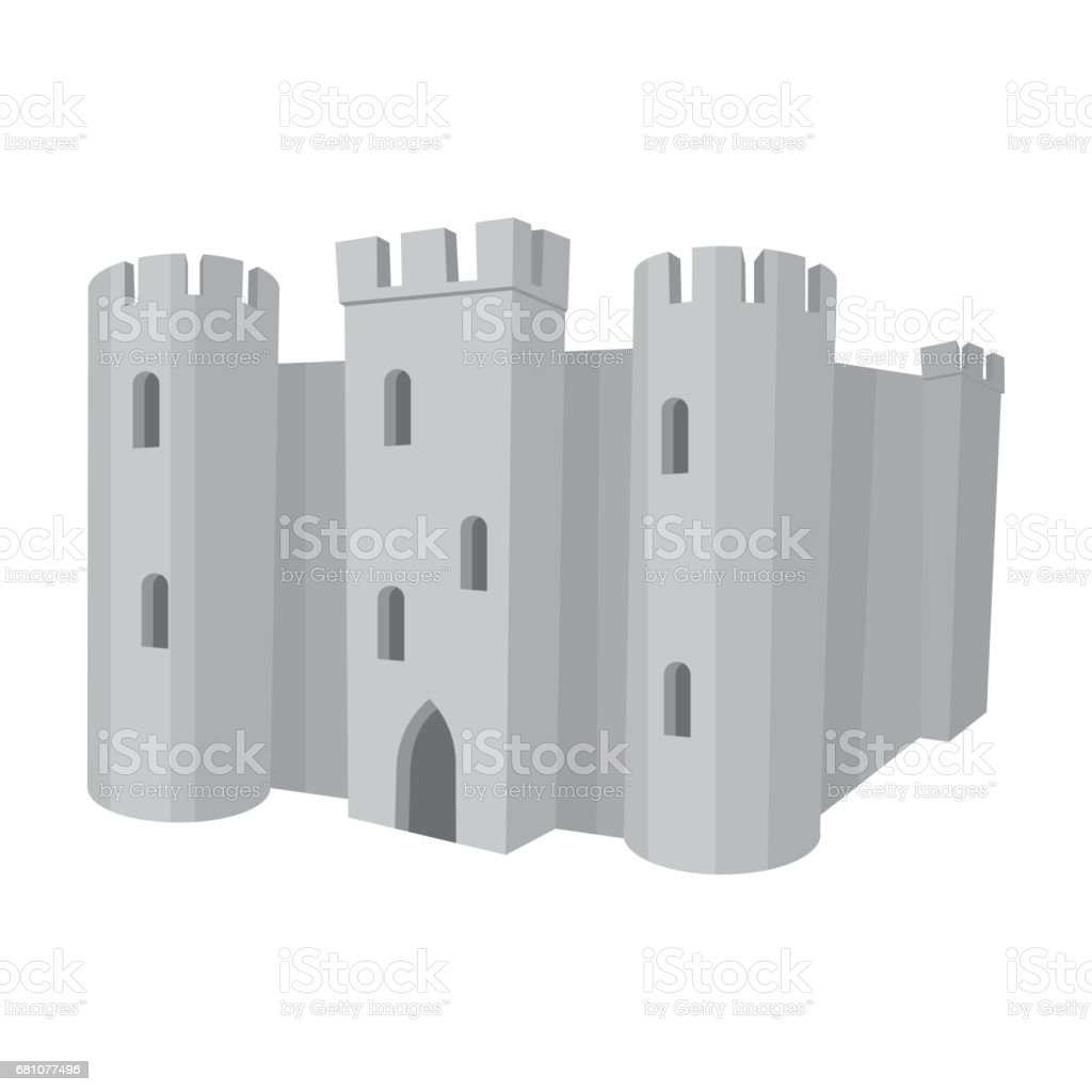 English castle icon in monochrome style isolated on white background. England country symbol stock vector illustration. royalty-free english castle icon in monochrome style isolated on white background england country symbol stock vector illustration stock vector art & more images of architecture