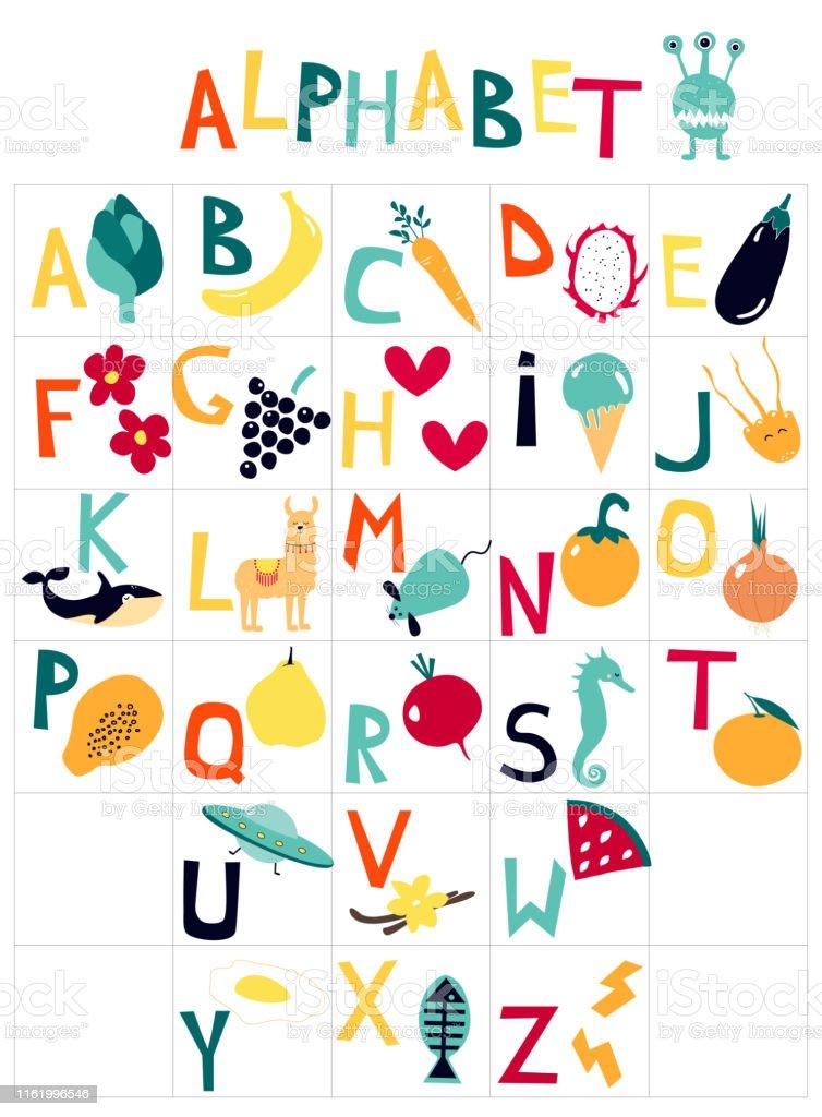 Ilustración De Alfabeto Infantil Inglés Con Dibujos Animados