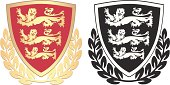 English coat of arms shields with three lions in gold and black.