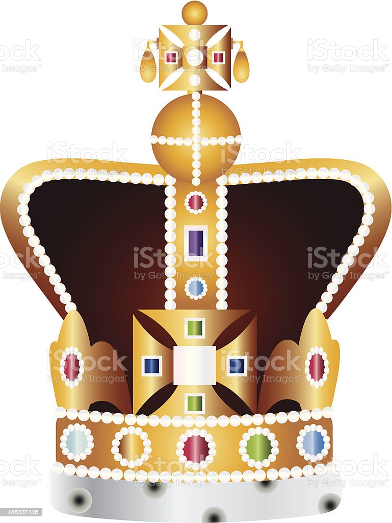 English Coronation Crown Jewels Vector Illustration vector art illustration