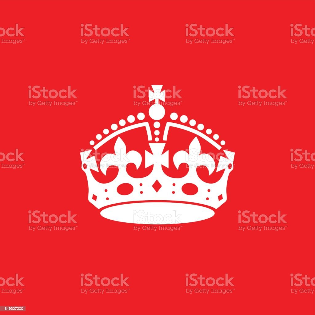 La couronne anglaise icône isolé sur fond rouge. - clipart vectoriel de Aliment libre de droits