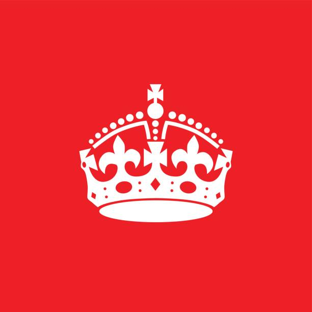 English crown icon isolated on red background. Vector art: english crown. tranquility stock illustrations