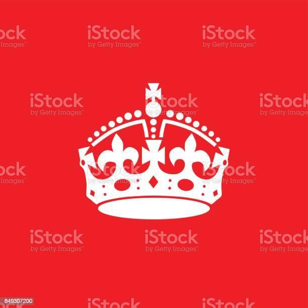 La Couronne Anglaise Icône Isolé Sur Fond Rouge Vecteurs libres de droits et plus d'images vectorielles de Aliment