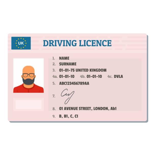 ilustraciones, imágenes clip art, dibujos animados e iconos de stock de icono de licencia conducción inglesa, estilo plano. - conductor