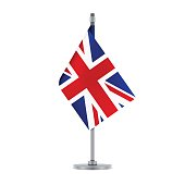 Flag design. English flag hanging on the metallic pole. Isolated template for your designs. Vector illustration.