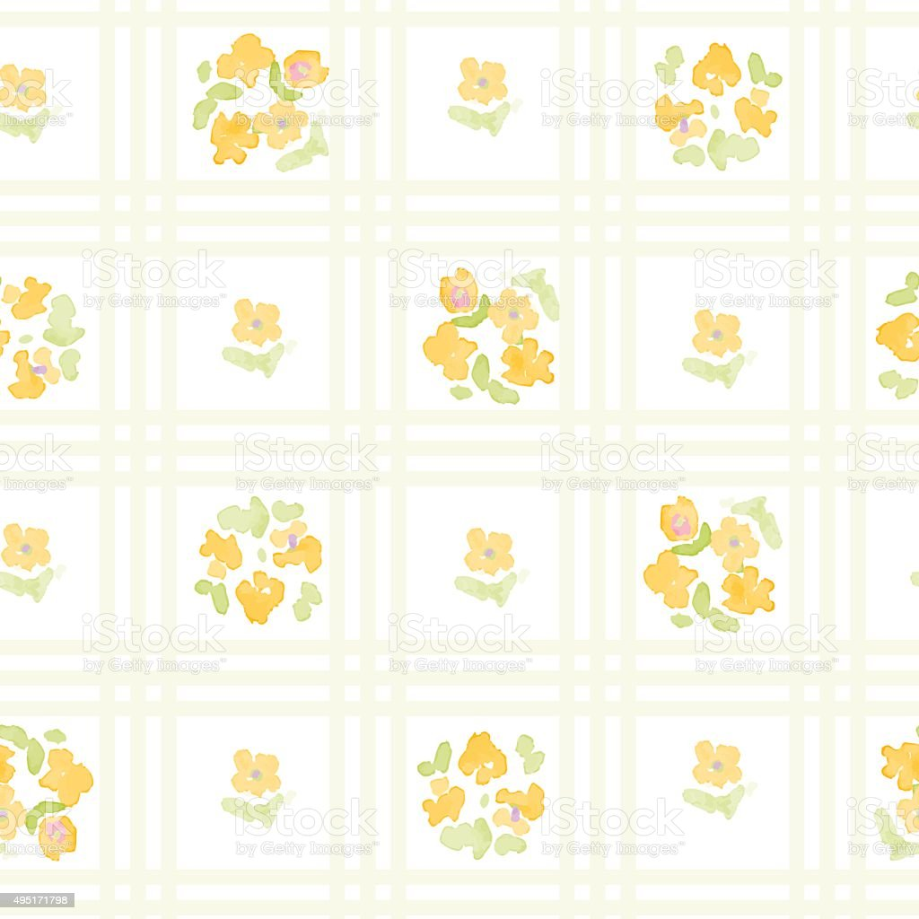 English Floral Pattern With Cross Stripes Vector Floral Vintage