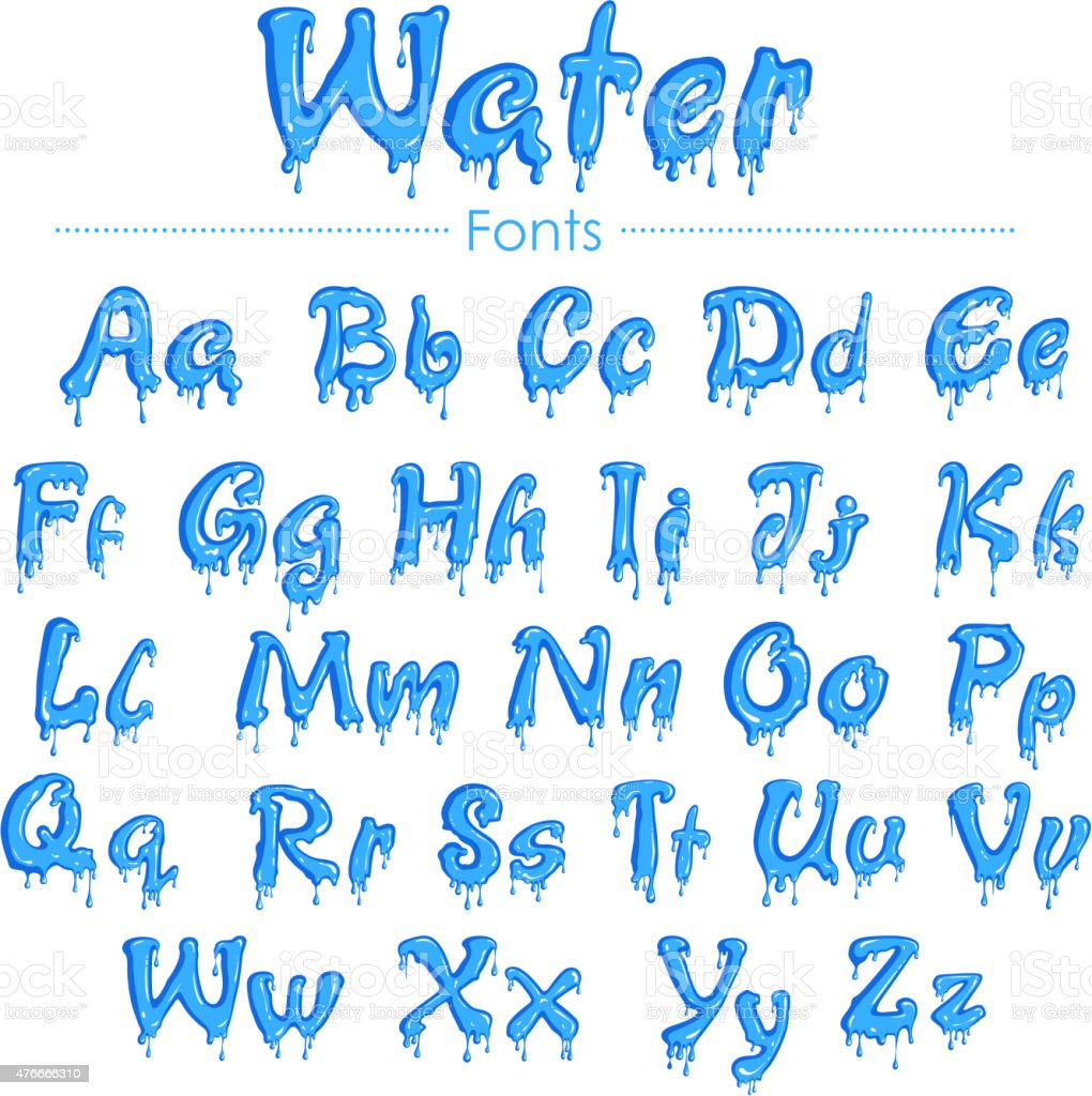 English font in water texture vector art illustration