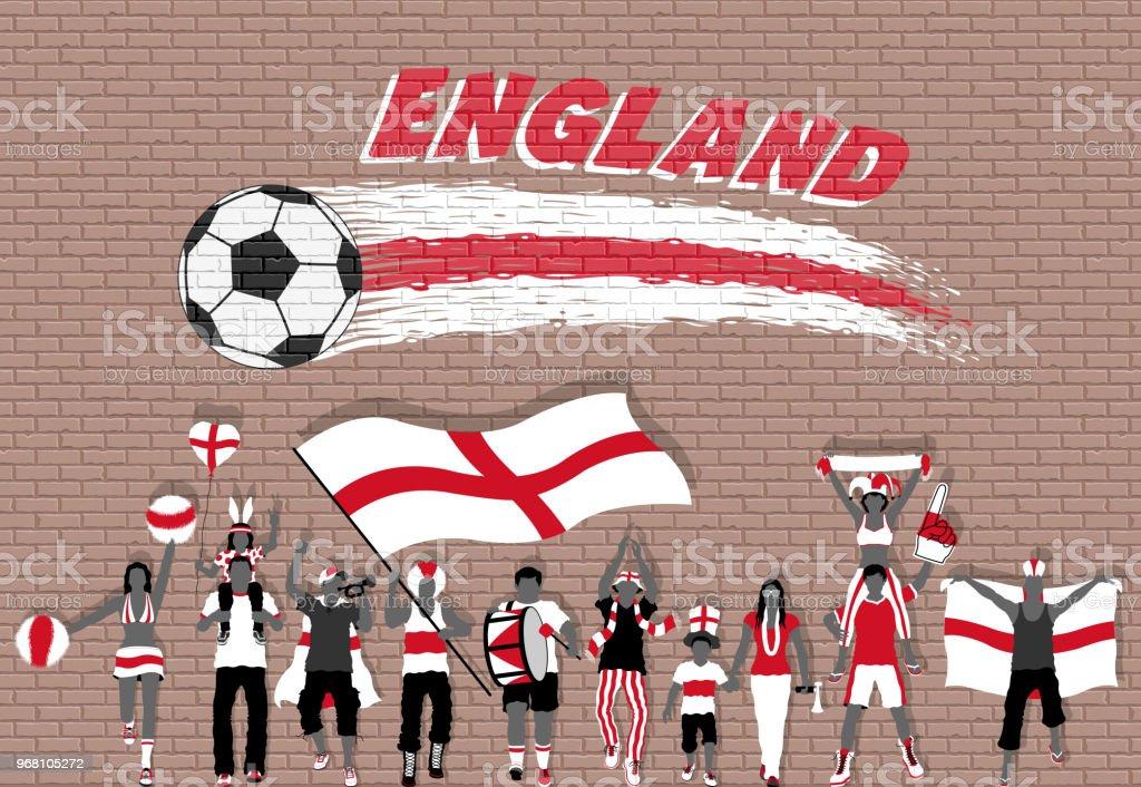 イングランドと英語のサッカー応援旗サッカー ボール落書きの前で色