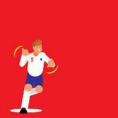 number nine English football player dancing celebration template design with flat style