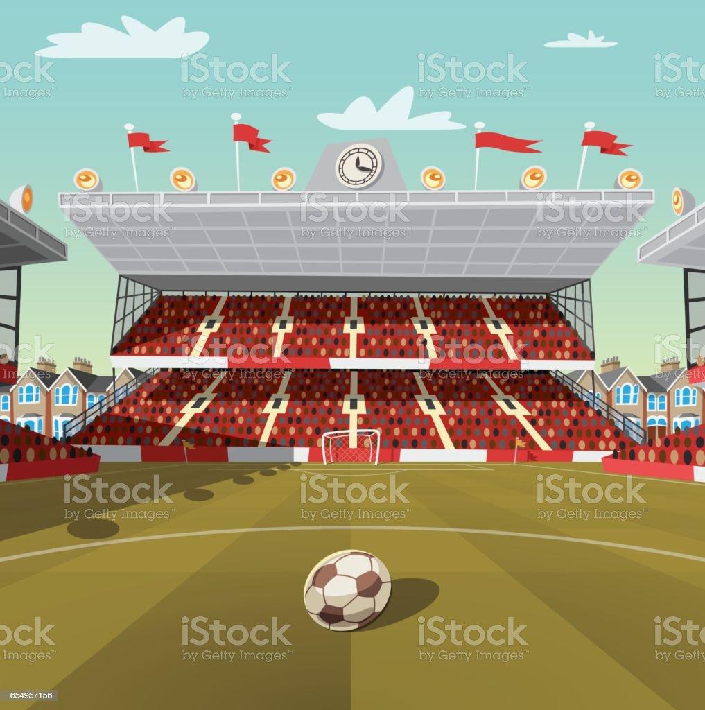 English football stadium vector art illustration