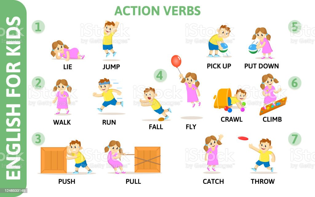 English For Kids Playcard Action Verbs With Playing ...