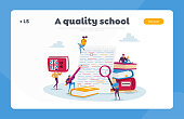 istock English Grammar Examination Landing Page Template. Tiny Characters Correct Mistakes in Test Written on Huge Paper Sheet 1263724092