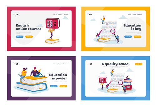 English Grammar Landing Page Template Set. Tiny Characters Correct Errors in Test Fail Exam Results, Incorrect Answers