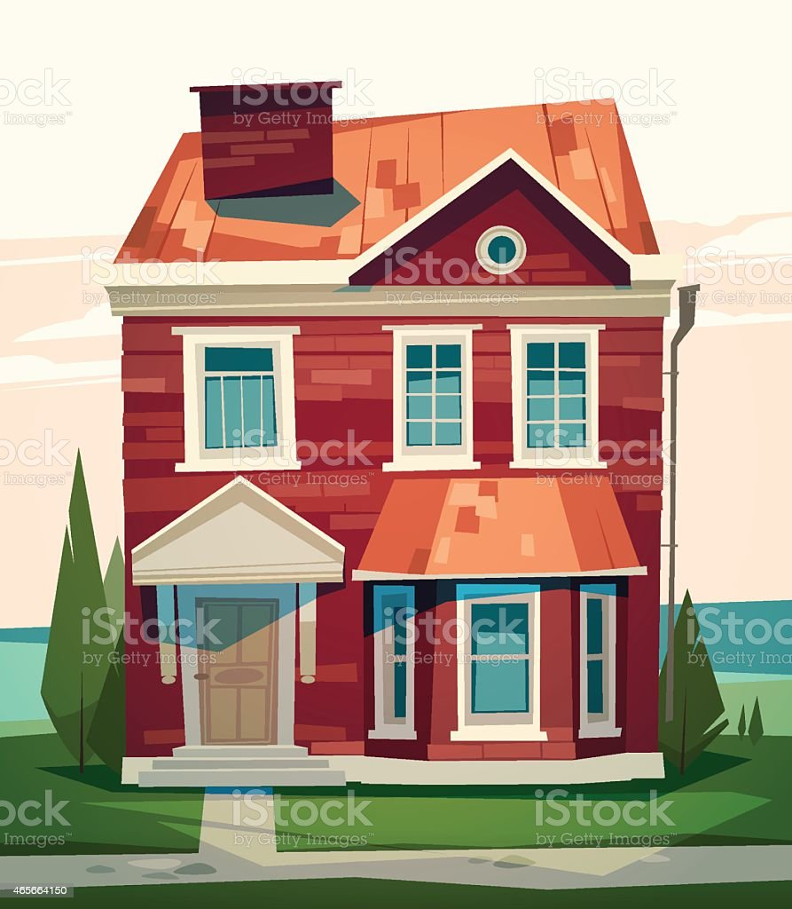 English house facade stock vector art more images of for Descrizione di una casa in spagnolo