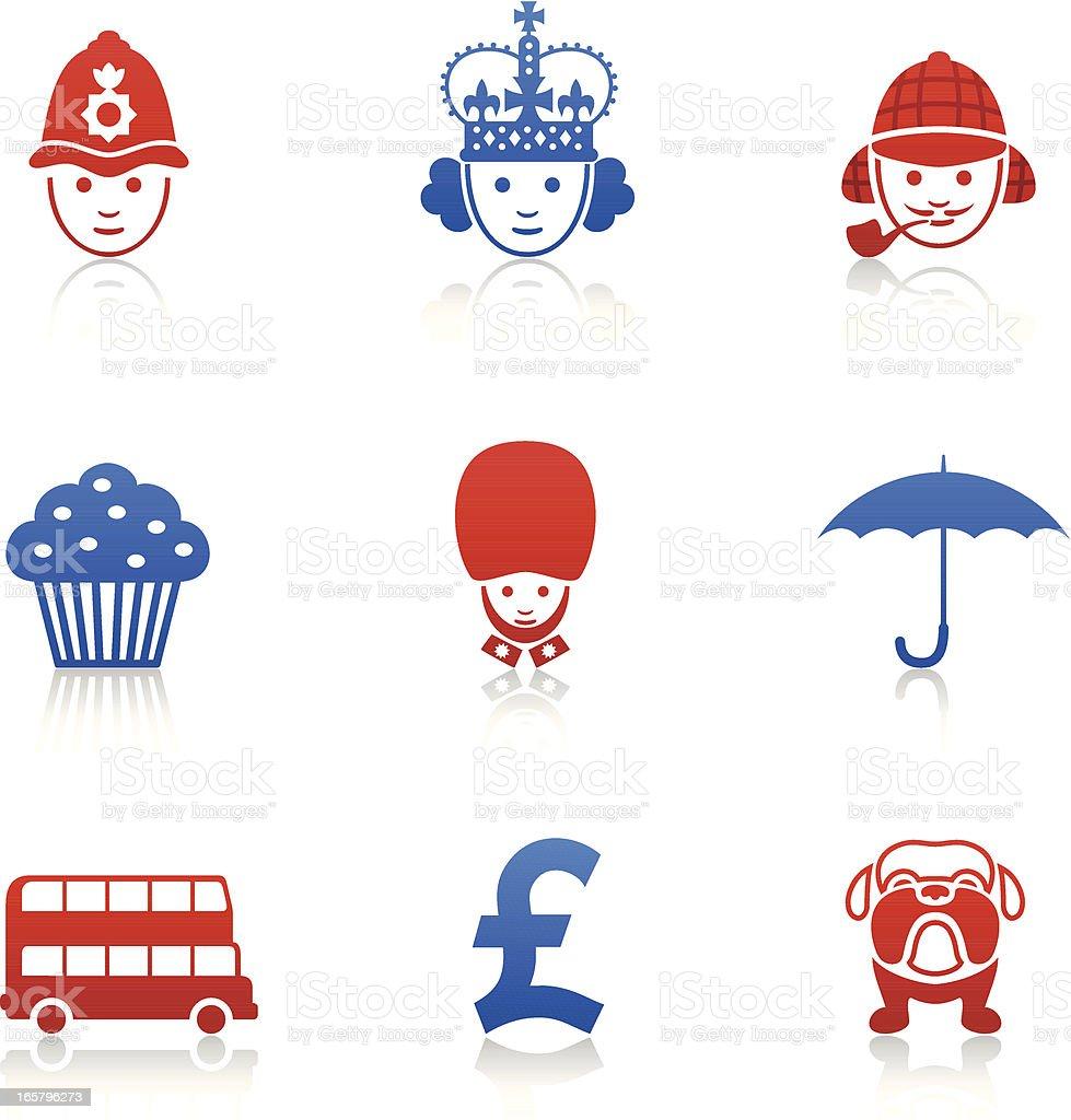 English Icons vector art illustration