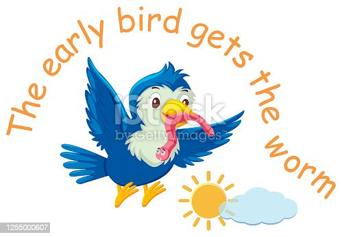 istock English idiom with picture description for early bird gets the worm on white background 1255000607