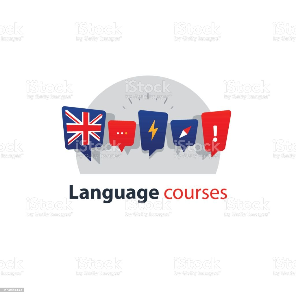 English language courses advertising concept. Fluent speaking foreign language vector art illustration