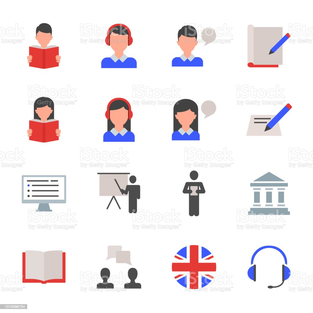 English language learning set of vector icons vector art illustration