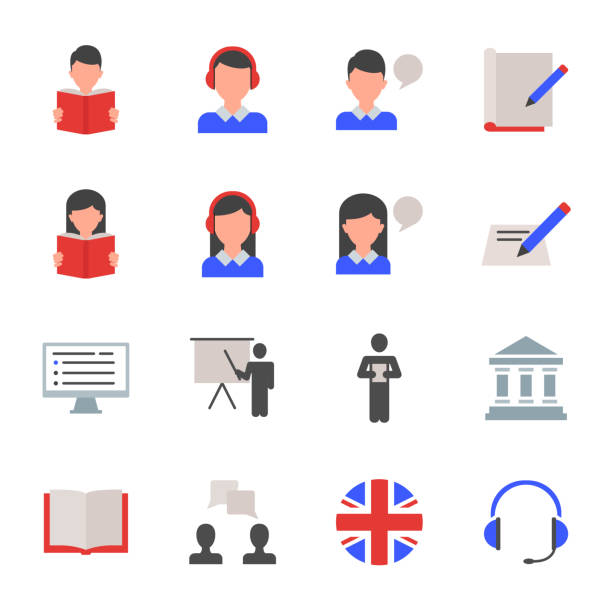 English language learning set of vector icons vector art illustration