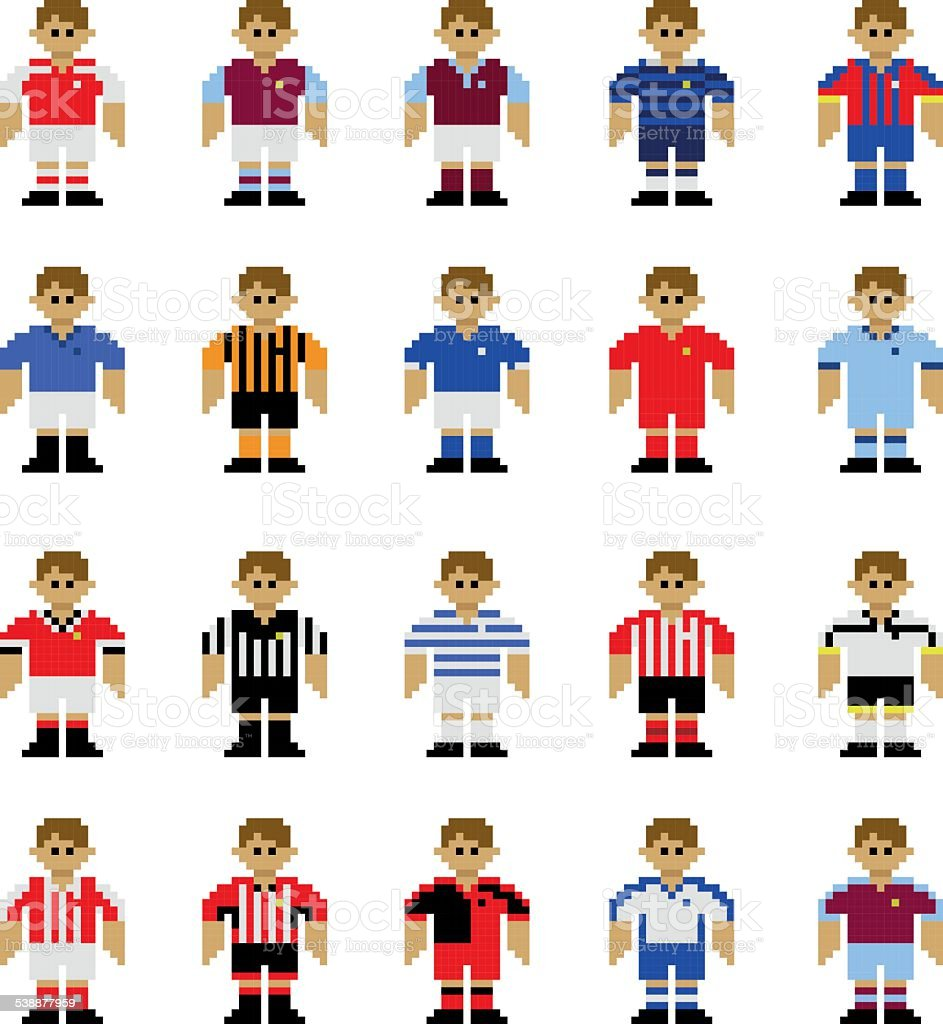 English League Football Kits Pixel Art Stock Illustration