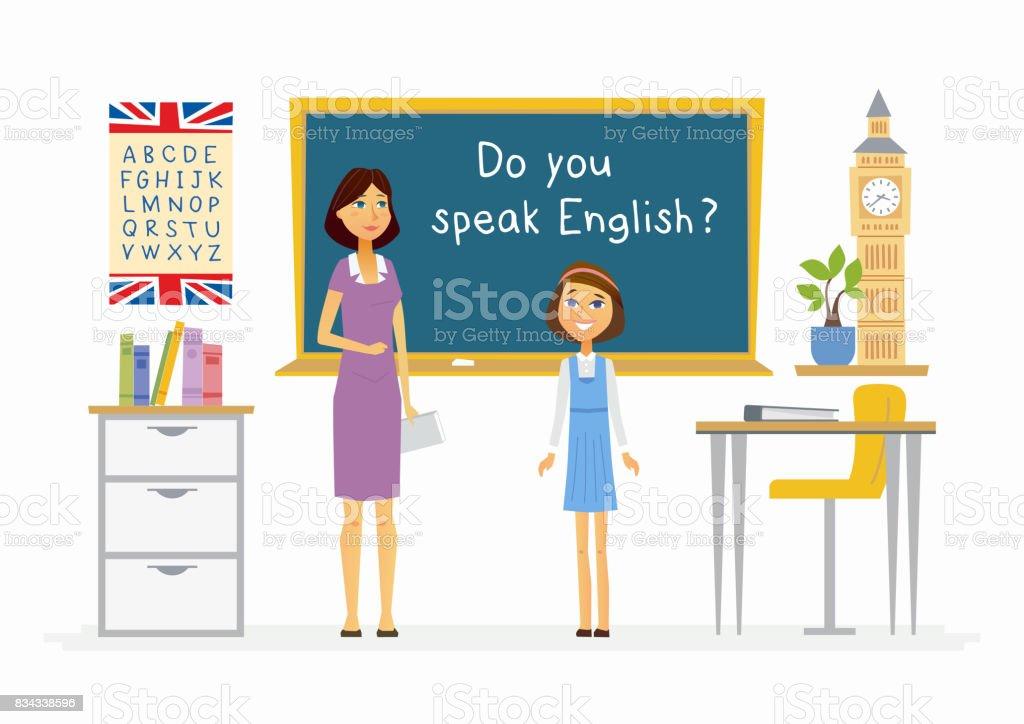 英語の授業の学校 - 漫画人文字図 ベクターアートイラスト