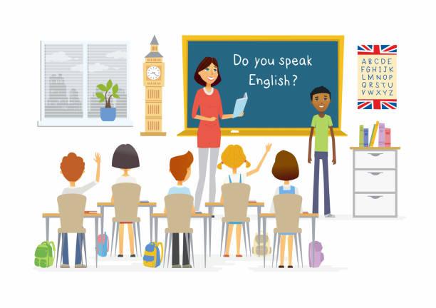 英語の授業の学校 - 漫画人文字図 - 教室点のイラスト素材/クリップアート素材/マンガ素材/アイコン素材