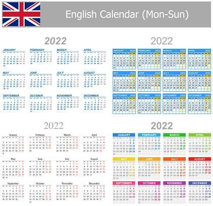 2022 English Mix Calendar Mon-Sun