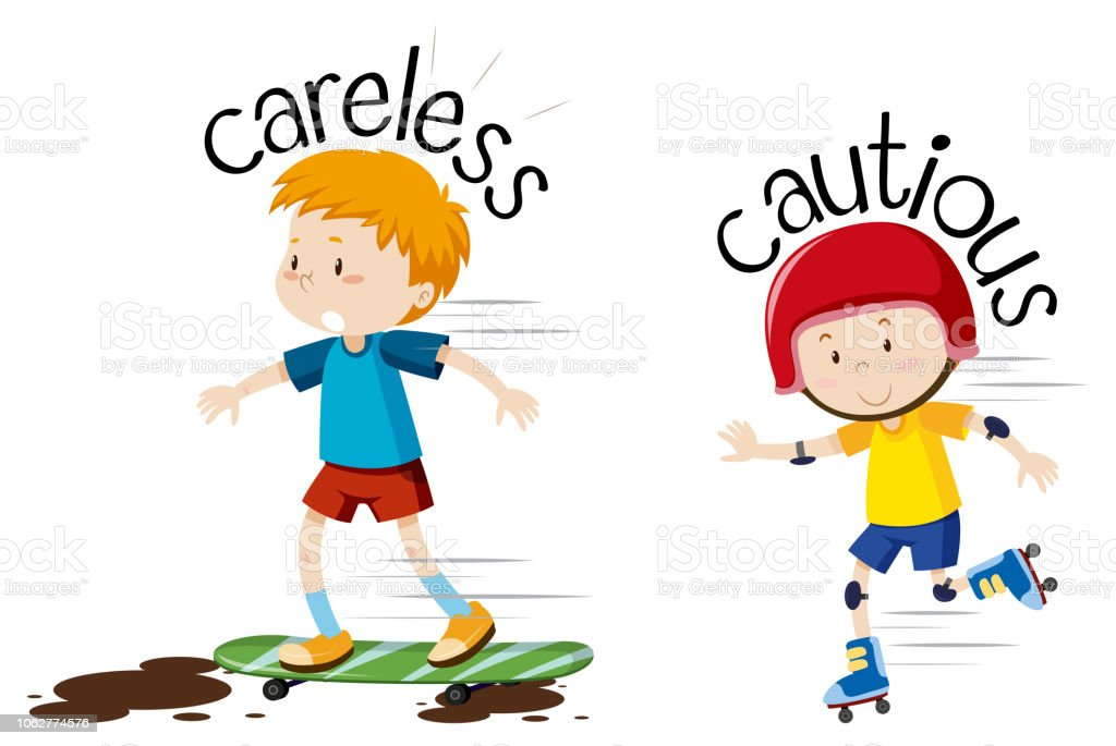 English opposite word  careless and cautious vector art illustration