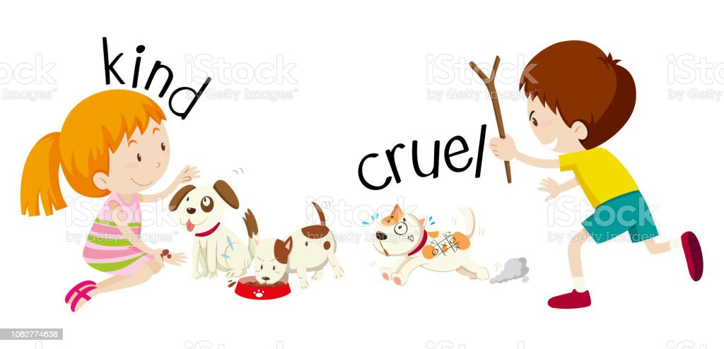 English opposite word kind and cruel vector art illustration