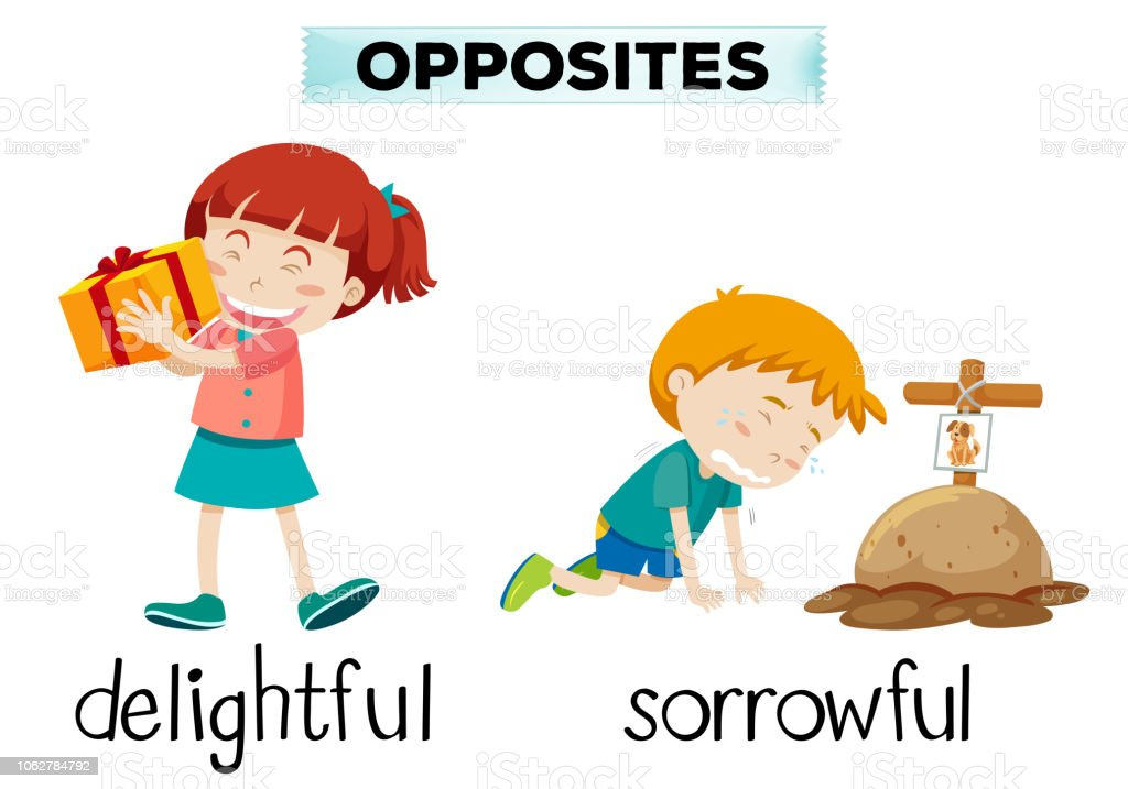 English opposite word of delightful and sorrowful vector art illustration