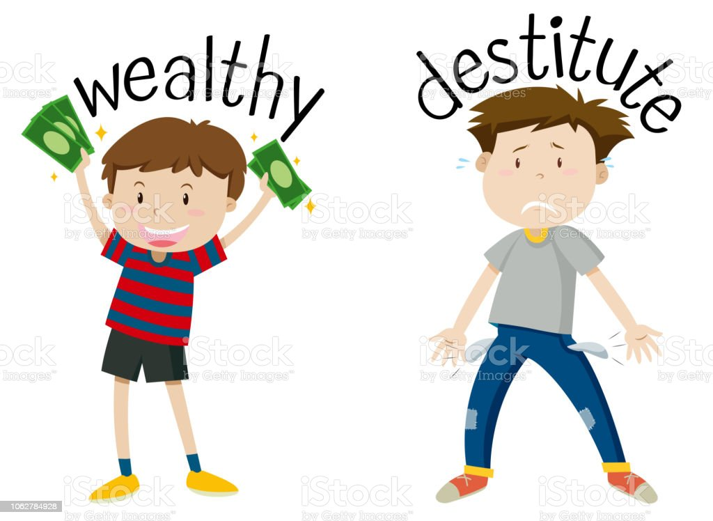English opposite word of wealthy and destitute vector art illustration