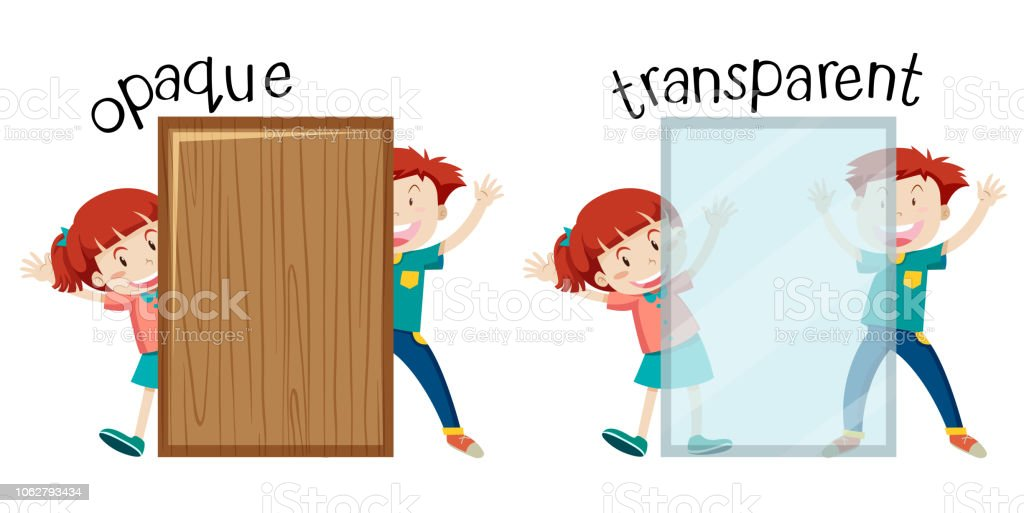 English opposite word opaque and transparent vector art illustration