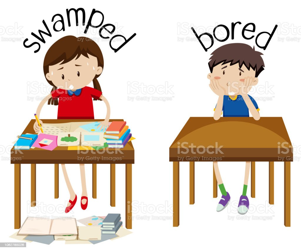 English opposite word swamped and bored vector art illustration