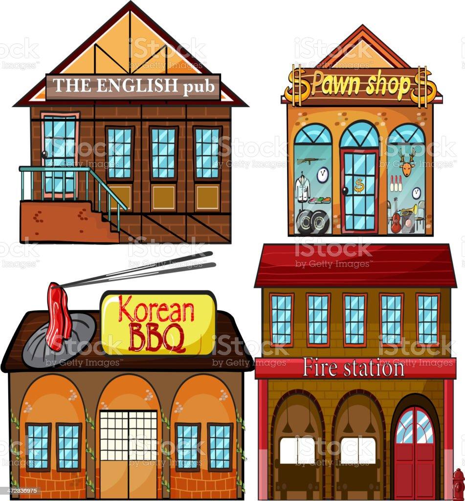 English pub, Korean restaurant, pawnshop and fire station royalty-free stock vector art