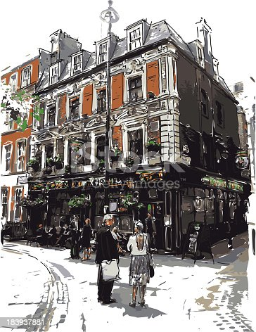 vector illustration of English pub in watercolor style. Each color is placed on a single level. You can easily change the colors or change details according to your needs.